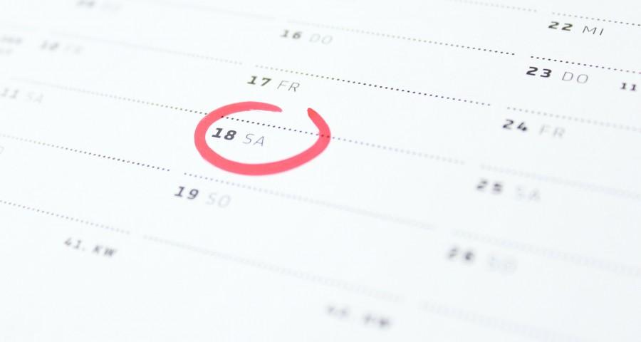 Kalender mit markierten Datum