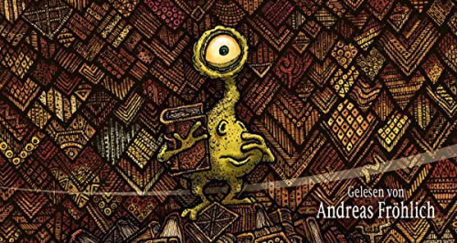 Cover zum Hörbuch der Bücherdrache - Ein Buchling steht vor einer Wand aus Büchern und wird von oben von großen bösen AUgen angestarrt